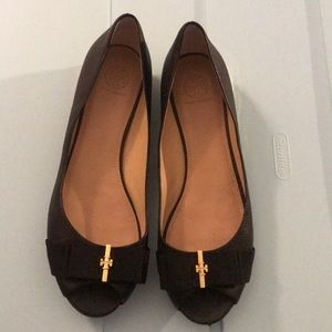 Tory Burch black Trudy open toe wedge